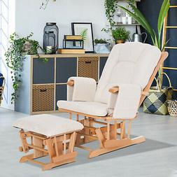 2 PCs Wood Glider Recliner Rocking Baby Nursery Chair W/ Cus