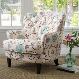 Alfred White and Blue Floral Fabric Upholstered Club Chair