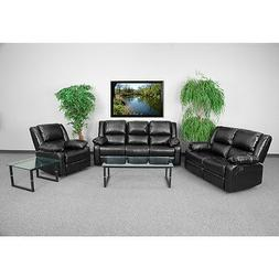 Living Room Set Theater Recliners in Black Leathersoft Upho