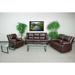 Living Room Set Theater Recliners in Brown Leathersoft Upho