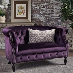 Christopher Knight Home 302212 Milani Tufted Scroll Arm Velv