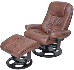 Barcalounger Jacque II Leather Recliner & Ottoman - whiskey
