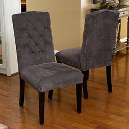 Best Selling Crown Top Fabric Dining Chair, Dark Grey, Set o