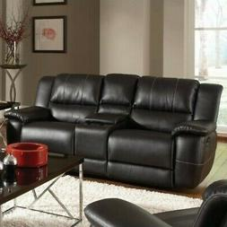 Coaster Home Furnishings Transitional Motion Loveseat, Black