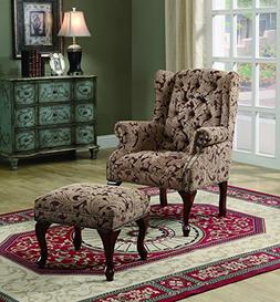 Coaster Traditional Light Brown Tufted Wing Back Chair with
