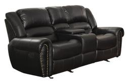 Homelegance 9668BLK-2 Double Glider Reclining Loveseat with