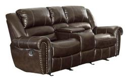 Homelegance 9668BRW-2 Double Glider Reclining Loveseat with