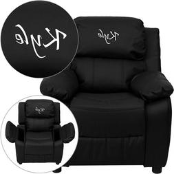 Personalized Deluxe Kid's Recliner Upholstery: Black Leather