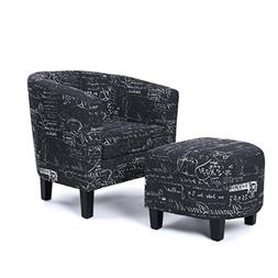 Belleze Accent Club Chair with Ottoman Modern Stylish Round