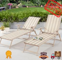Adjustable Chaise Lounge Chair Lounger Patio Outdoor Furnitu