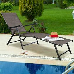 Adjustable Pool Chaise Lounge Chair Recliner Outdoor Patio C