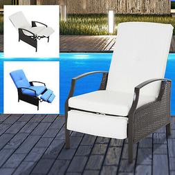 Adjustable Wicker Recliner Cushion Chair Pool Chaise Patio L