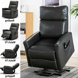 Air Leather Power Lift Recliner Chair Oversized Extra Soft S