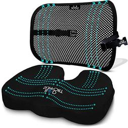 Back Support Seat Cushion Set - Memory Foam With Orthopedic
