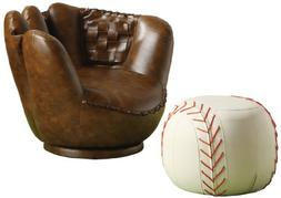 Baseball Glove Chair Ottoman with Swivel Base 17 Round by 13