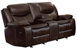 Homelegance Bastrop Double Glider Reclining Loveseat Leather