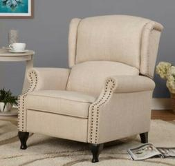 Beige Wingback Accent Recliner Chair Recliners Armchairs Tan