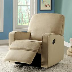 Bentley Camel Brown Fabric Modern Nursery Swivel Glider Recl