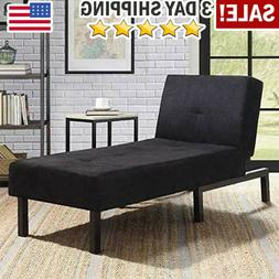 Black Chaise Lounge Chair Day Bed Sleeper Sofa Fiat Bed Loun