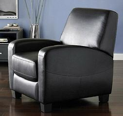 Black Faux Leather Recliner  - Reclining Contemporary Arm Ch