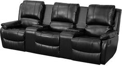 Black Leathersoft Pillowtop 3-Seat Home Theater Recliner wit