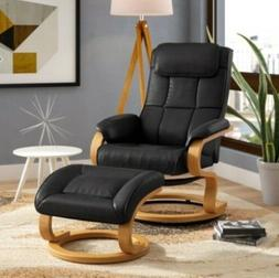 Black Manual Swivel Recliner & Ottoman Chair Set Living Room