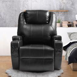Black Massage Recliner Heated Sofa Leather Vibrating  Chair