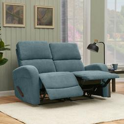 Blue Chenille 2-Seat Double Recliner Loveseat Sofa ~ 300 lb