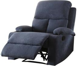 Blue Linen Recliner Arm Chair Recliners w/ Cup Holders Armch