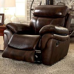 Benzara BM131879 Upholstered Leather Recliner Chair, Brown
