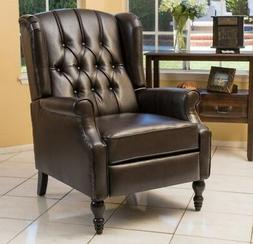 Brown Leather Wingback Recliner Arm Chair Recliners Armchair