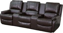 Brown Leathersoft Pillowtop 3-Seat Home Theater Recliner w/S