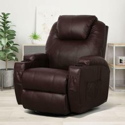 brown massage recliner chair heated pu leather