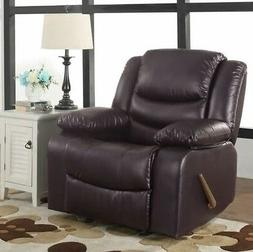 Brown Oversized Leather Rocker Recliner Arm Chair Recliners