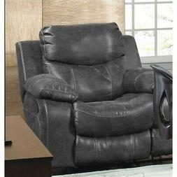 Catnapper Catalina Leather Glider Recliner in Steel