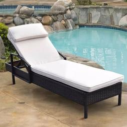 Chaise Lounge Chair Brown Outdoor Wicker Rattan Couch Patio