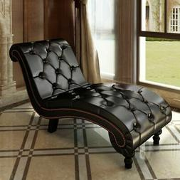 Chesterfield Chaise Lounge Chair Leather Sofa Padded Recline