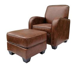 Ravenna Home Club Faux Leather Accent Chair and Ottoman, 29""