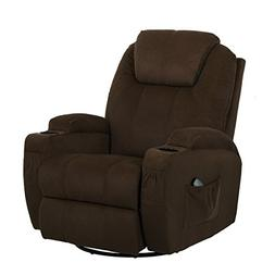 Esright Coffee Fabric Massage Recliner Chair 360 Degree Swiv