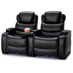 Barcalounger Columbia Home Theater Seating Black Chairs Powe