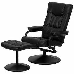 Contemporary Black Leather Soft Recliner/Ottoman with Wrappe