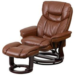 Contemporary Brown Leather Recliner and Ottoman w/ Swiveling