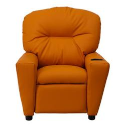 Contemporary Orange Microfiber Kids Recliner Chair with Cup