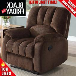 Deluxe Padded Recliner Comfort Coils Lazy Boy Chair Brown Co