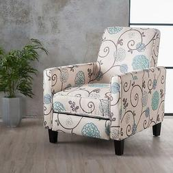 Great Deal Furniture   Dufour   White and Blue Floral Fabric