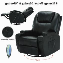 Electric Swivel Heated Massage Chair Leather Power Recliner