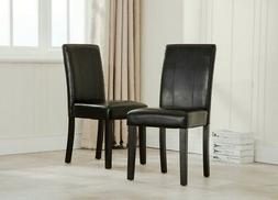 Elegant Modern Parsons Chair Leather Dining Living Room Chai