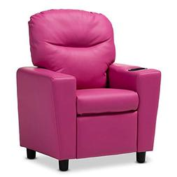 Baxton Studio Evonka Magenta Pink Faux Leather Kids Recliner