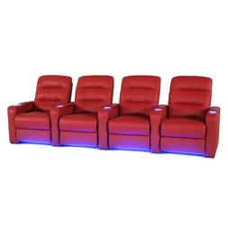 Seatcraft Excalibur Red Leather Home Theater Seating Power R