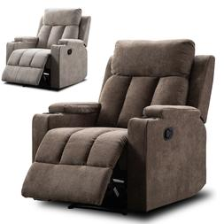 Fabric Manual Recliner Chair Home Theater Seating with 2 Cup